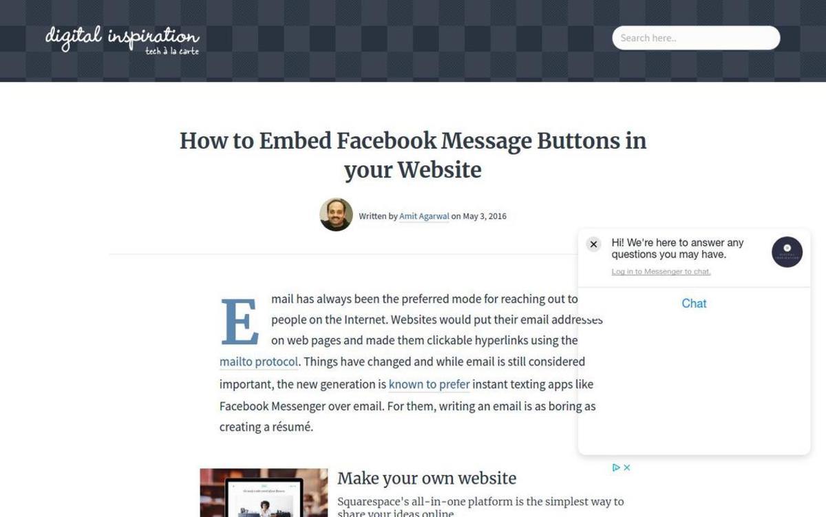 How to Embed Facebook Messenger in your Website